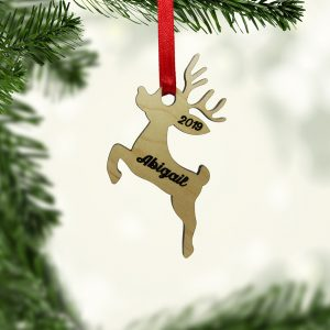 Reindeer Jumping Wood Ornament