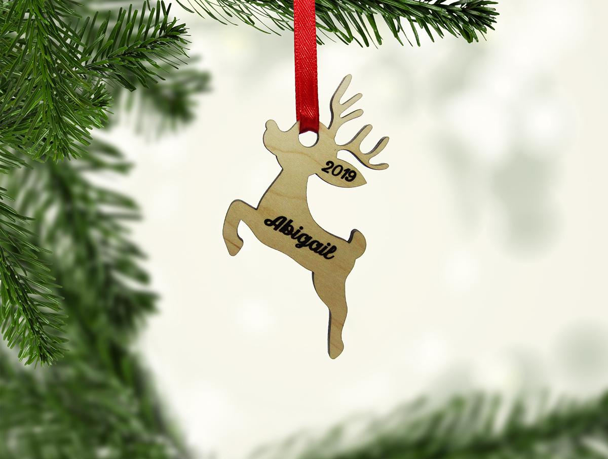 Reindeer Jumping Wood Ornament