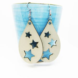 Teardrop Three Stars Leather Earrings