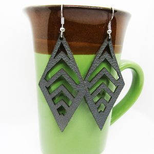 Diamond Chevron Cut Out Leather Earrings