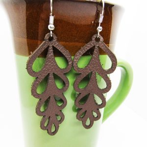 Flower Petal Drop Cut Out Leather Earring