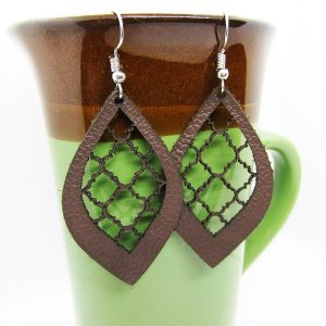 Ornamental Teardrop Lattice Leather Earrings