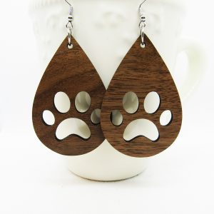 Teardrop Paw Print Earrings