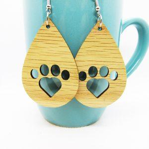 Teardrop Heart Paw Print Earrings