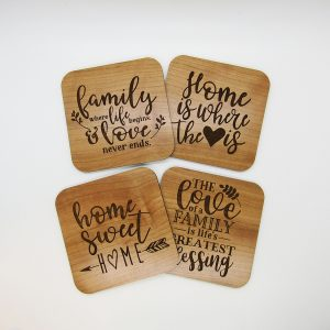 Family Life Heart Home Sweet Blessings Coaster Set