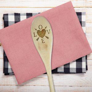 LOVE Heart Arrows Wooden Spoon