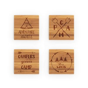 Camping Adventure Awaits Stay Wild Bamboo Coasters
