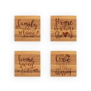 Family Life Heart Home Sweet Blessings Bamboo Coasters