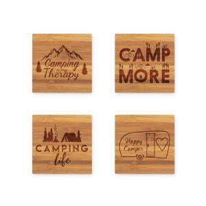 Camping Life Quotes Bamboo Coaster