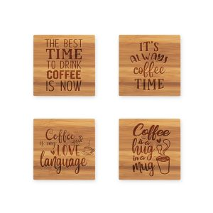 Coffee Love Quotes Bamboo Coaster