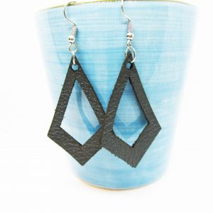 Drop Diamond Cutout Leather Earring