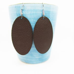 Oval Solid Leather Earrings