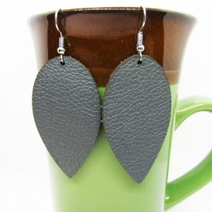 Teardrop Downward Leather Earrings