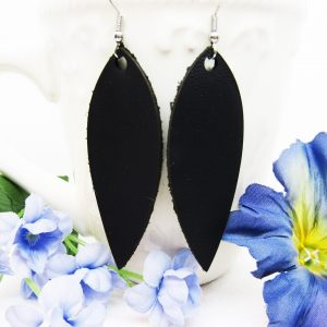 Teardrop Long Petal Leather Earring