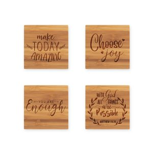 Uplifting Faith Quotes Bamboo Coasters