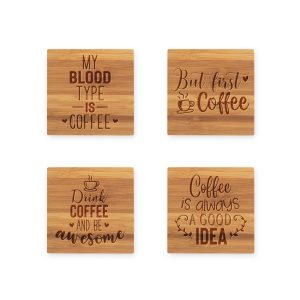 Drink Coffee Quotes Bamboo Coasters