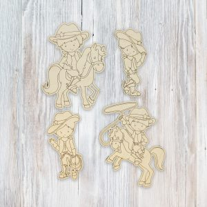 Cowboys Standing Horses Kid Craft Kit