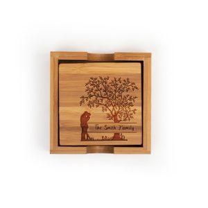 family-tree-last-name-wood-bamboo-coaster-set