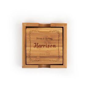 full-name-date-decorative-frame-bamboo-coasters-set