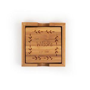 last-name-est-leaf-border-bamboo-coasters-set