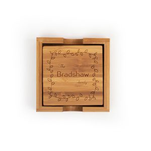 last-name-family-leafy-frame-bamboo-coasters-set