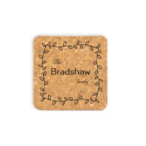last-name-family-leafy-frame-cork-coasters