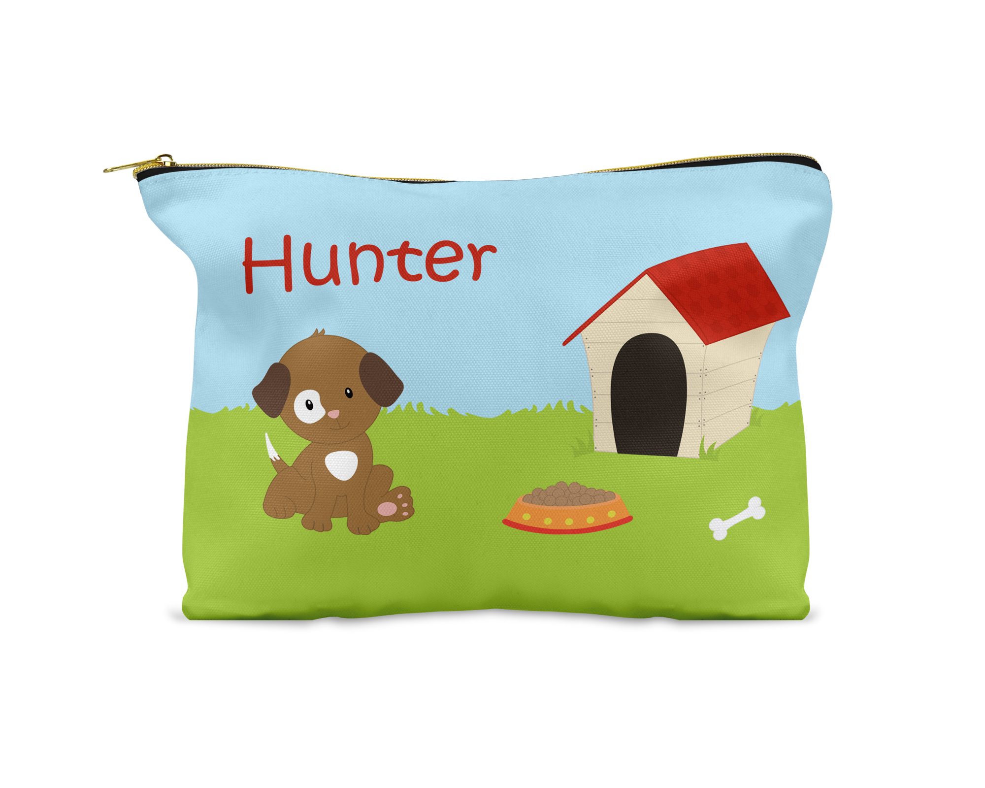 Puppy Dog Brown White Spot Eye Grass Dog House Pencil Case PtG Stock 4