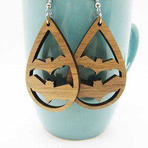 teardrop-flying-bats-wood-earrings