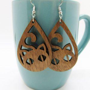 teardrop-cat-face-wood-earrings