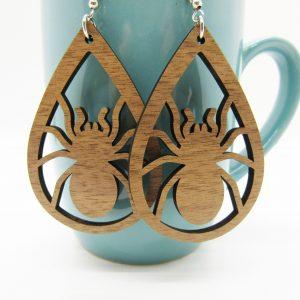 teardrop-spider-wood-earrings
