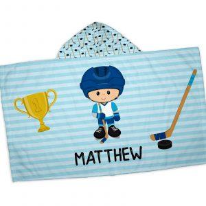 hockey-player-boy-blue-stripes-hooded-towel